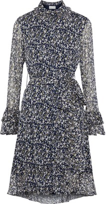Mikael Aghal Belted Ruffle-trimmed Floral-print Georgette Dress