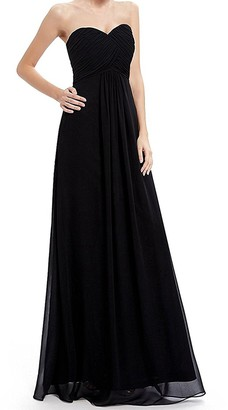 IMEKIS Women Elegant Long Dress Strapless Sweetheart Chiffon Ball Gown Ruched Bust Bridesmaid Wedding Cocktail Evening Party Dress Formal Dance Prom Gown Red UK 16