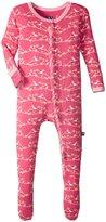 Kickee Pants Print Ruffle Footie (Baby) - Winter Rose Pine Birds - New Born