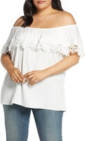 Estelle Beating Heart Lace Detail Convertible Off the Shoulder Blouse