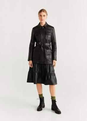 MANGO Ruffled leather skirt