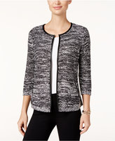 JM Collection Petite Faux-Leather-Trim Marled Jacket, Only at Macy's