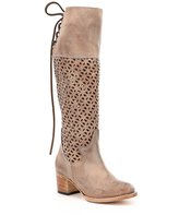 Freebird Creek Laser Cut Design Back Lace Detail Block Heel Riding Boots