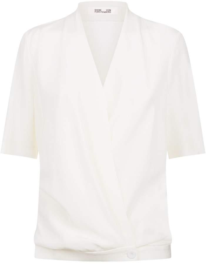 Diane von Furstenberg Cross-Over Silk Blouse