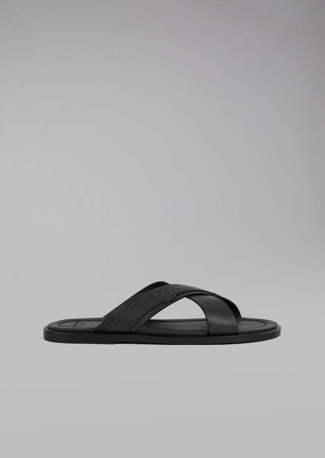 Giorgio Armani Sandals With Crossover Straps In Leather
