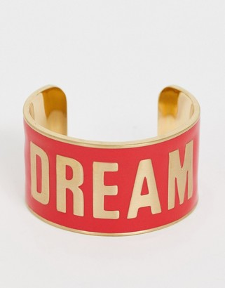 Benetton diversity collection wide bracelet with dream slogan-Red