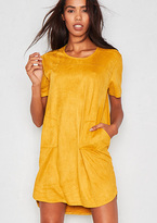Missy Empire Jessi Mustard Faux Suede Pocket T Shirt Dress