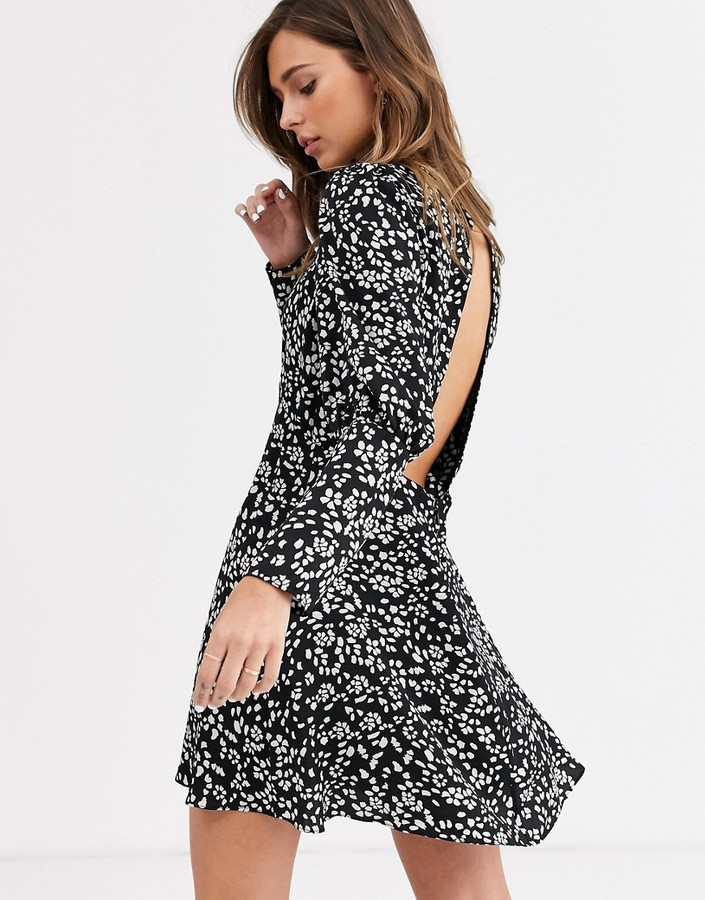 Topshop mini dress with puff sleeves in black floral