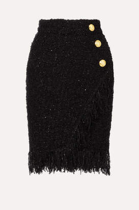 Balmain Wrap-effect Button-embellished Fringed Metallic Tweed Skirt - Black