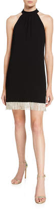 Trina Turk Top Shelf Carmel Crepe Halter Dress w/ Crystal Fringe Hem