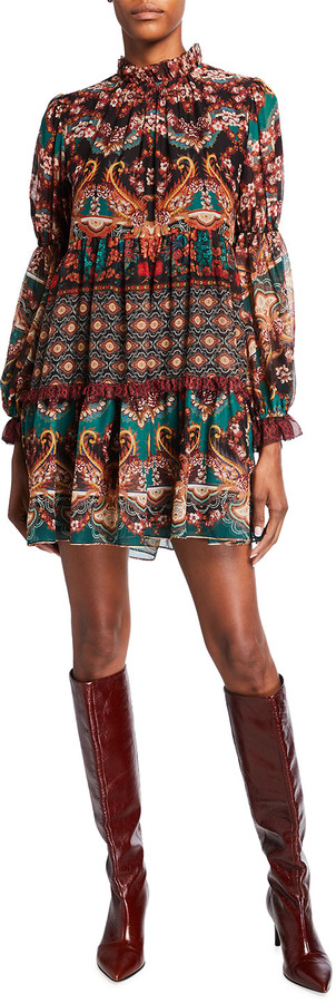 Alice + Olivia Marella Paisley Mock-Neck Blouson-Sleeve Tunic Dress