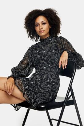 Topshop Black Yoke Long Sleeve Ruched Mini Dress