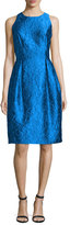 Carmen Marc Valvo Sleeveless Floral Jacquard Tulip Dress, Turquoise