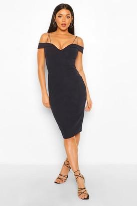 boohoo Cold Shoulder Midi Dress