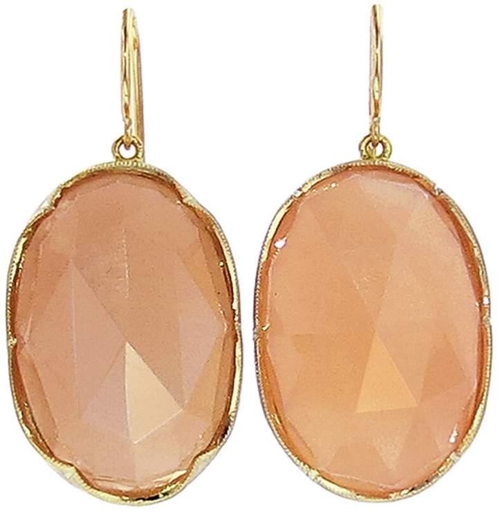 Irene Neuwirth Oval Rose Cut Peach Moonstone Earrings