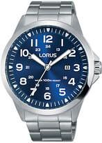 Lorus Rh925gx9 Date Bracelet Strap Watch, Silver/blue