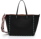 Valentino 'Rockstud Rolling' Guitar Strap Leather Tote - Black