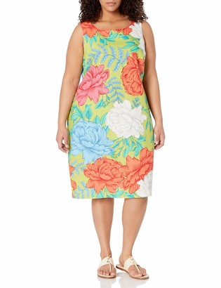 Ronni Nicole Women's Plus Size Printed Linen Sheath