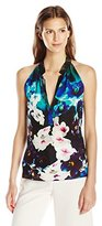 Nicole Miller Women's Misty Flowers Silk Georgette Luca Top