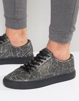 Religion Cracked Print Sneakers