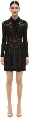 Elie Saab Embellished Crepe & Tulle Mini Dress