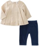Absorba Beige Pin Dot Tunic & Blue Leggings - Infant