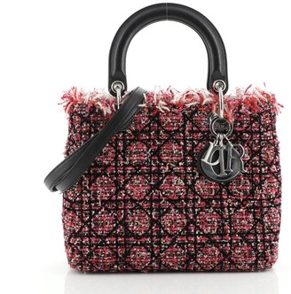 Christian Dior Lady Bag Cannage Quilt Tweed with Leather Medium