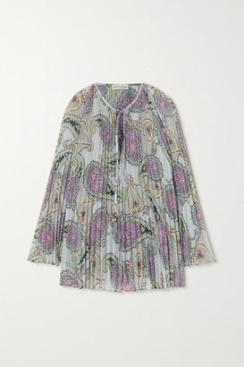 Etro Pleated Paisley-print Crepe De Chine Blouse - Lilac