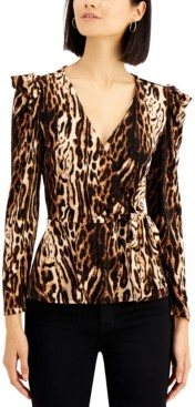 INC International Concepts Inc Petite Leopard-Print Surplice Top, Created for Macy's