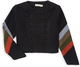 Pippa Carbon Soldier Little Girl's & Girl's Neopolitan Cropped Military Jacket