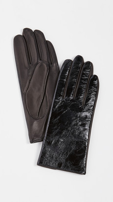 Carolina Amato Black Patent Gloves