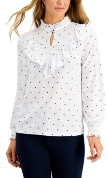 Charter Club Petite Ruffled Textured Blouse, Created for Macy's