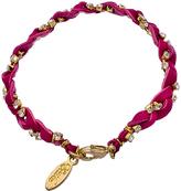 Ettika Crystal and Fuchsia Leather Glimmer Braid Bracelet