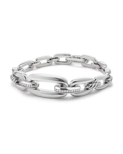 David Yurman Wellesley Sterling Silver Link Chain Bracelet with Diamonds