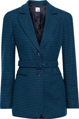 Iris & Ink Felicity Belted Houndstooth Wool-blend Felt Blazer