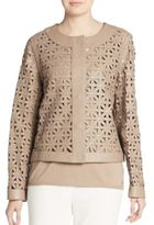 Escada Leather Lattice-Weave Jacket