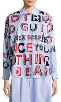 Maison Margiela Text-Print Striped Cotton Shirt