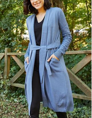 Aqe Fashion AQE Fashion Women's Cardigans INDIGO - Indigo Pocket Textured-Sleeve Cardigan - Women