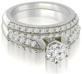Ice 2 CT TW Antique Cathedral Round Cut Diamond Bridal Set in 18K White Gold