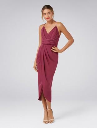 Forever New Charlotte Petite Drape Maxi Dress - Berry Bliss - 4