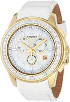Akribos XXIV Women's AK621YGW Lady Diamond Swiss Quartz Crystal Mother-of-Pearl Gold-Tone Stainless Steel Leather Strap Watch