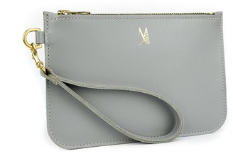 Village Leathers Soft Leather Clutch Bag - Light Grey