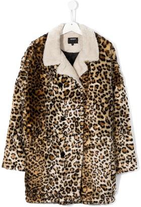 DKNY TEEN leopard print coat