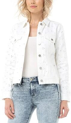 Liverpool Classic Eyelet Jean Jacket (Bright White) Women's Jacket