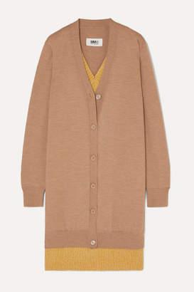 MM6 MAISON MARGIELA Oversized Layered Wool-blend Cardigan - Beige