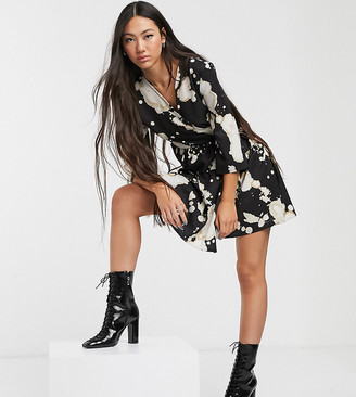 Another Reason tiered wrap dres in bleached print