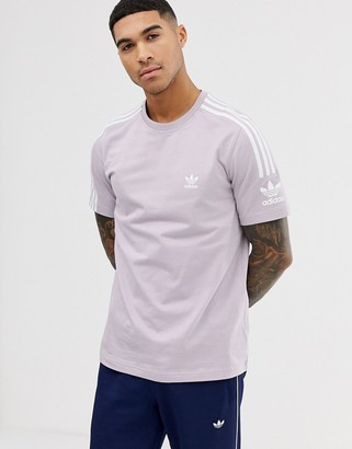 adidas t-shirt with lock up logo in lilac-Purple