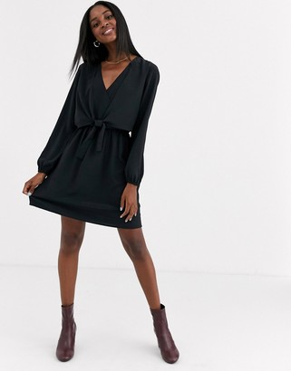 JDY mini dress with knot front detail in black