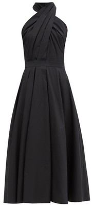 Alexander McQueen Halterneck Pleated Cotton-poplin Midi Dress - Black
