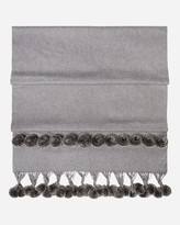 N.Peal Fur Bobble Woven Cashmere Shawl